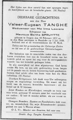 Achterzijde bidprentje Valeer Eugeen Tanghe